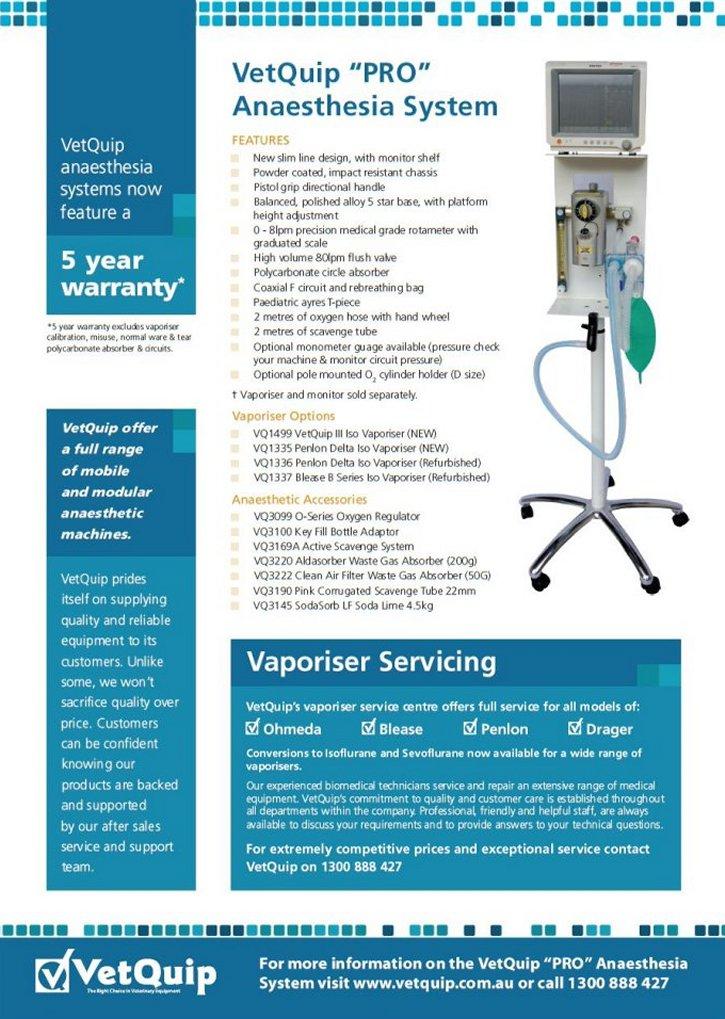 """VetQuip """"Pro"""" Anaesthesia System"""